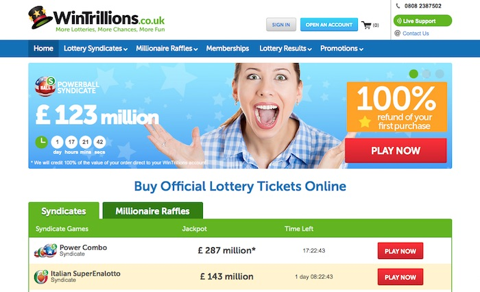 Review of Wintrillions.co.uk Online Lottery Betting Website