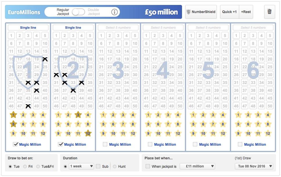 EuroMillions Betting Slip Screenshot at Lottoland.co.uk