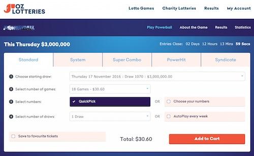 Oz Powerball Lottery Betting Slip