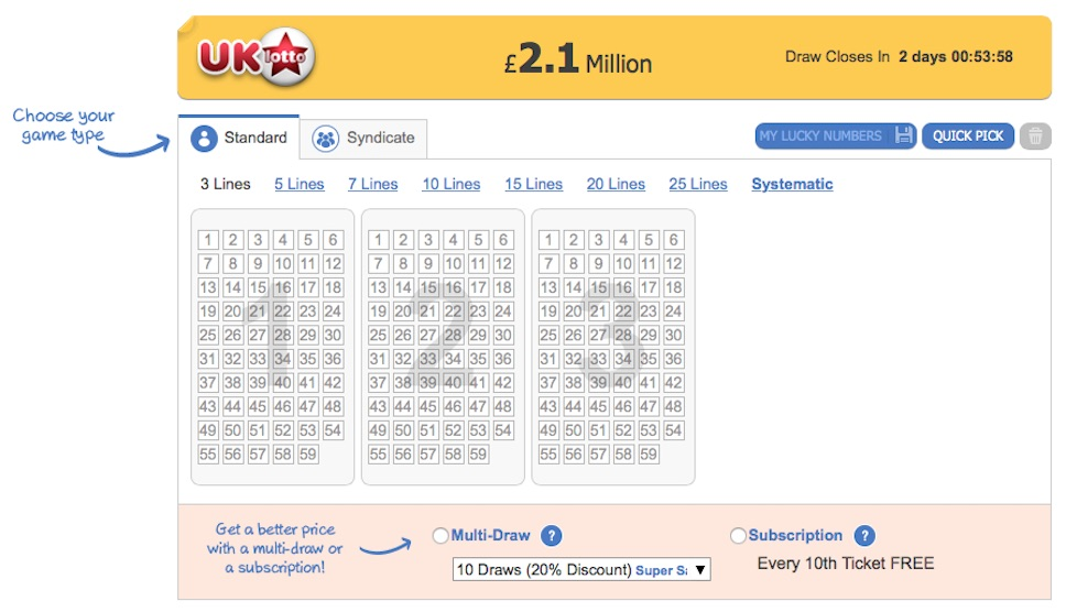 Screenshot of betting on UK Lotto at thelotter.com