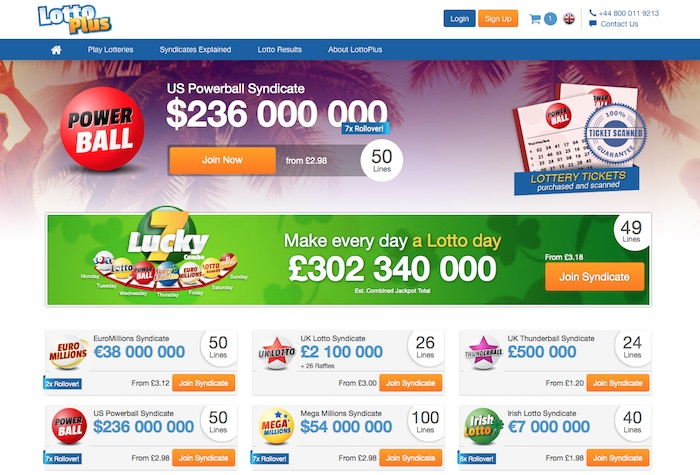 Review Screenshot of LottoPlus.com Lottery Syndicates Home