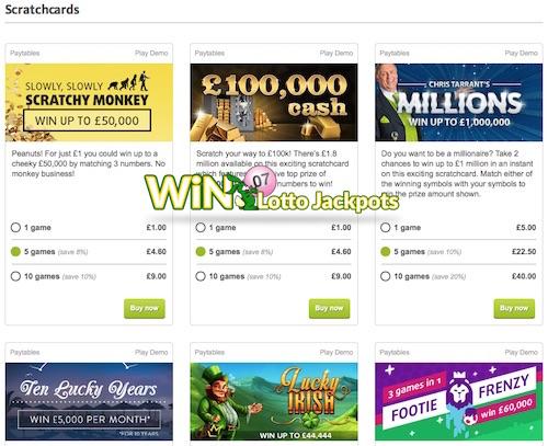 Play Online Scratchcards at LottoLand
