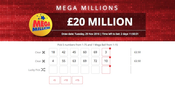 Lottery betting example on the US MegaMillions Jackpot
