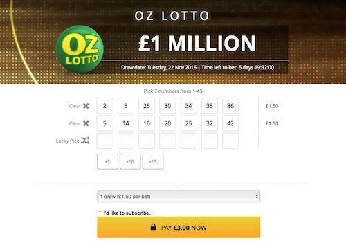 Betting on Oz Lotto at World Lottery Club
