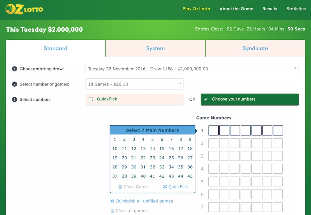 Oz Lotto Online Betting Slip Screenshot at Ozlotteries.com