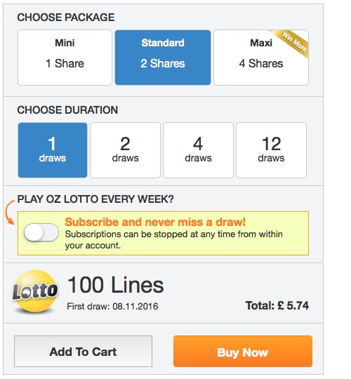 Lottery Syndicate Shares Package Price Screenshot