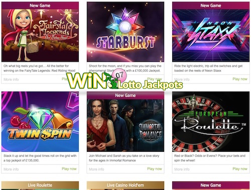 Lottoland.co.uk features online slots and casino games