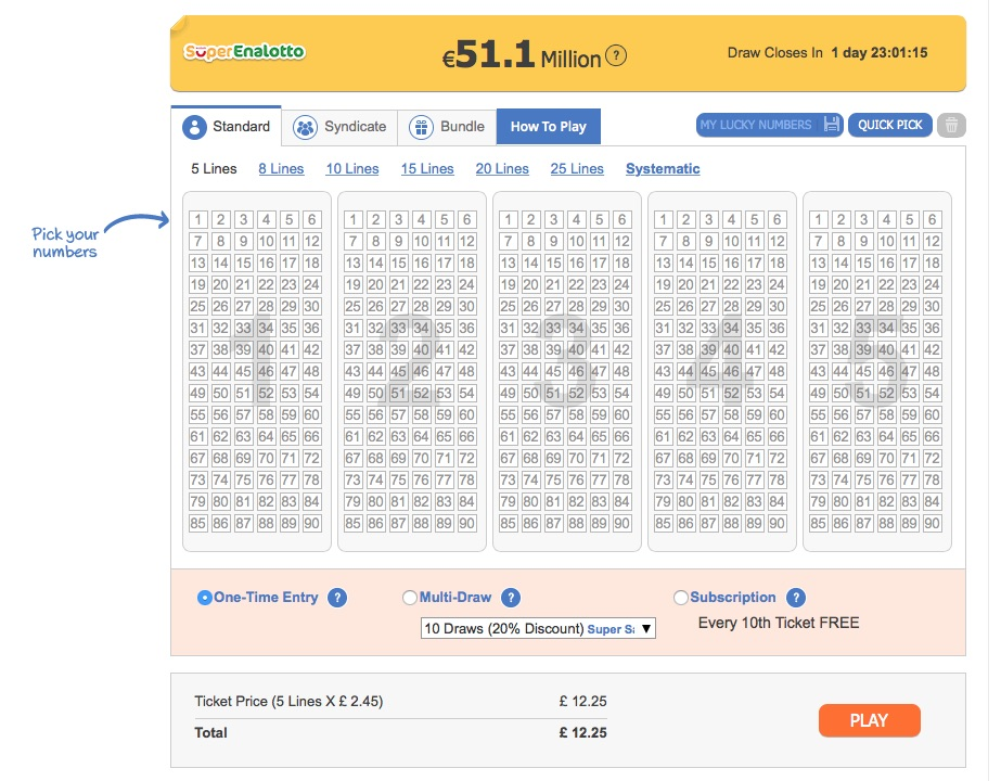 SuperEnaLotto Betting Slip Screenshot at The Lotter